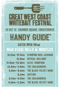 Whitebait Festival music guide (source of image)