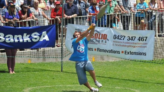 Photgraph of the winner of the tuna toss at the Tunarama festival in Port Lincoln Australia