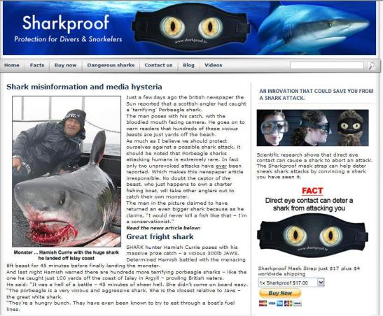 screen capture of website selling dive mask shark strap