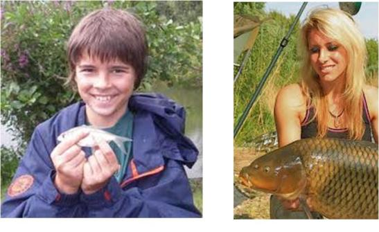 Photographs of a young boy and a woman fishing for coarse fish