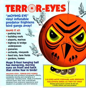 Terror eyes inflatable vinyl ball to keep birds away