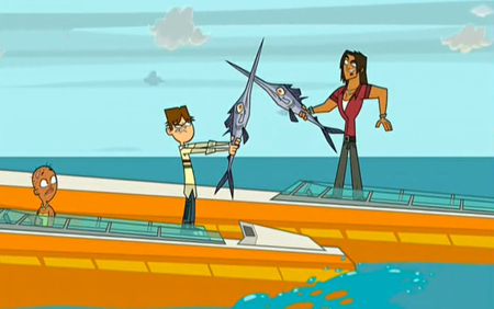 cartoon characters fighting with swordfish using swordfish as foils
