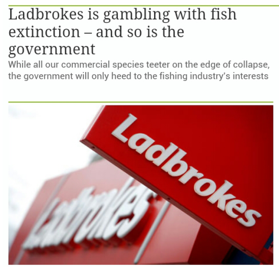 Screen capture of recent blog article about British overfishing