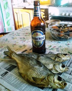 Vobla Russian dried salted fish snack and Russian beer