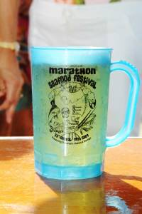 Beer in a Marathon Seafood Festival logo mug